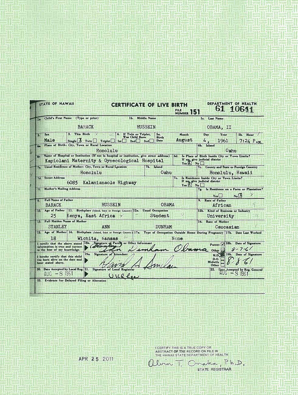 Obamas Birth Certificate May 4 2011 Sonoran News